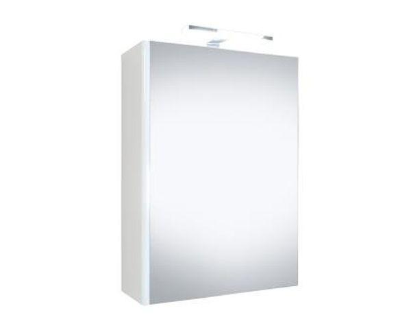 Spiegelkast Happy 50x60x18cm MDF Hoogglans Wit LED Verlichting Stopcontact