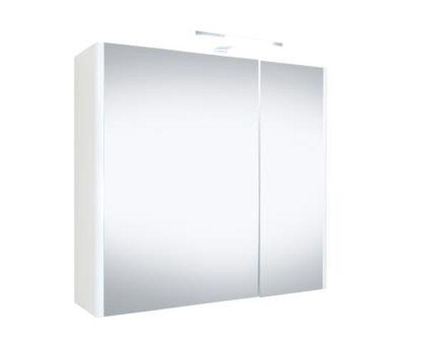 Spiegelkast Happy 60x60x18cm MDF Hoogglans Wit LED Verlichting Stopcontact