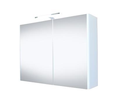 Spiegelkast Happy 100x60x18cm MDF Hoogglans Wit LED Verlichting Stopcontact