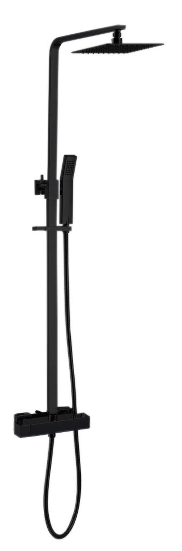 Best design black york vierkante thermostatische regendouche opbouwset nero mat zwart