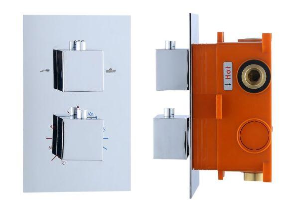 Best design piazza inbouwthermostaat inb.box 2 weg 1 2 vierkante knoppen