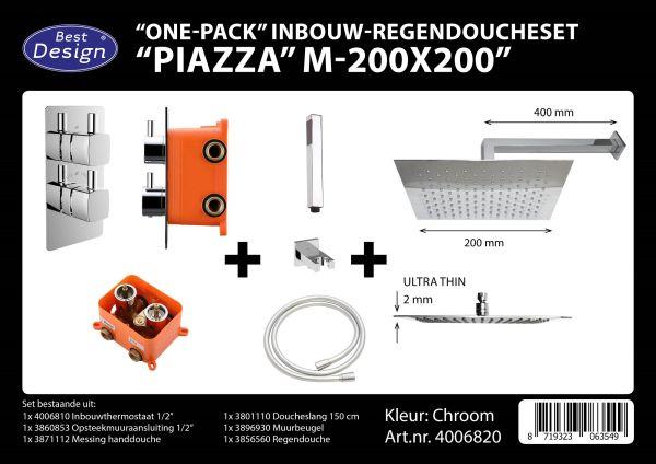Best design one pack inbouw regendoucheset inb.box piazza vierkant m 200x200