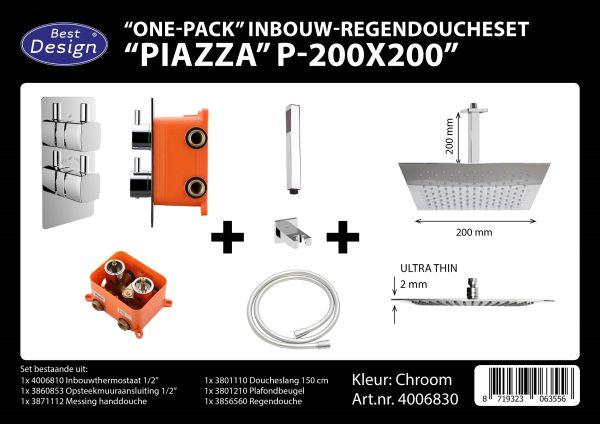 Best design one pack inbouw regendoucheset inb.box piazza vierkant p 200x200