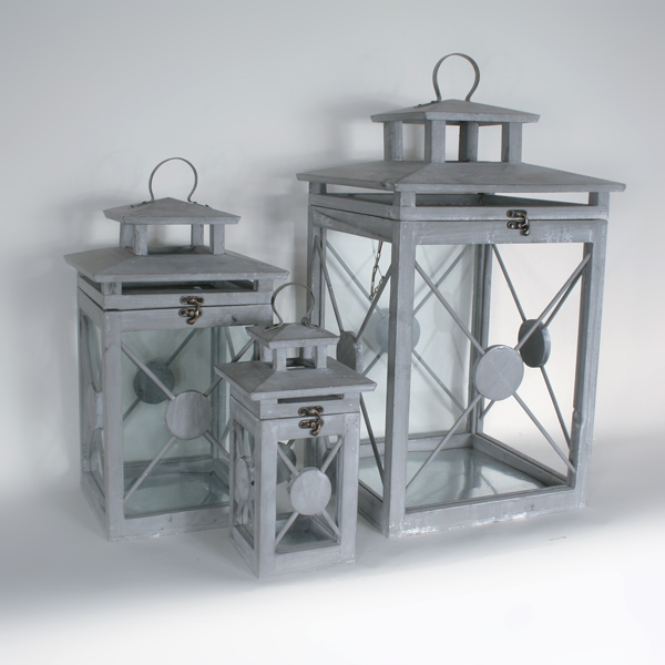 Lantaarn set van 3 hout/glas 34x62cm - 24x47cm - 15x31 grijs