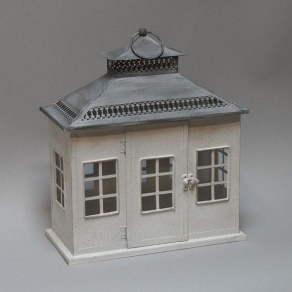 Huis lantaarn metaal 29x14x33cm grijs/wit