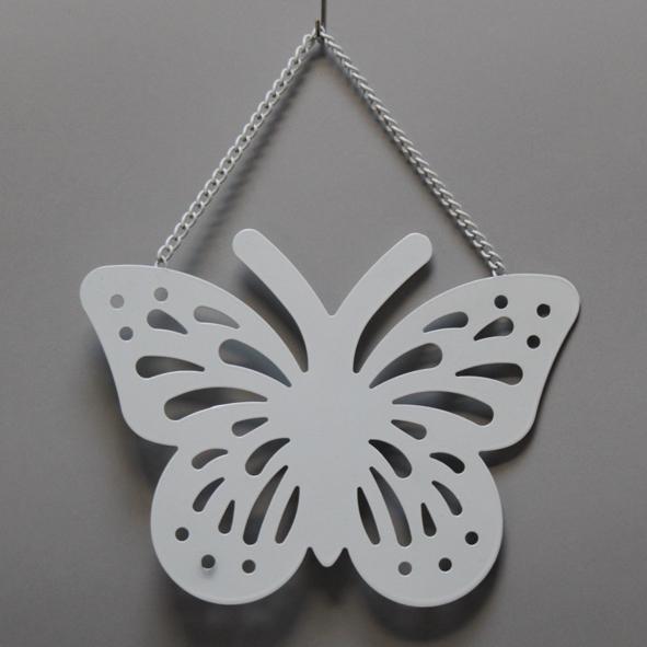 Vlinder decoratie 22x22,5cm wit