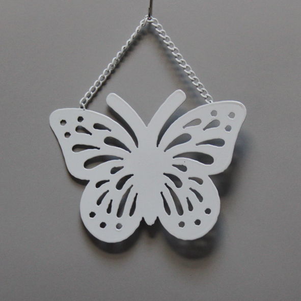 Vlinder decoratie 16x17,5cm wit