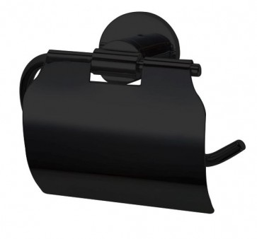 """Best-design """"nero"""" toiletrolhouder met klep mat-zwart"""