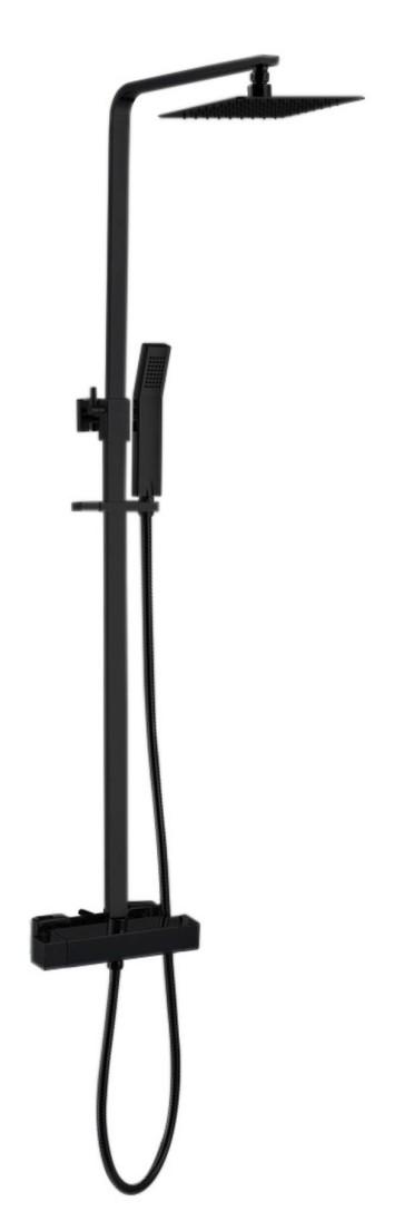 """Best-design """"black-york"""" vierkante thermostatische regendouche-opbouwset """"nero"""" mat-zwart"""
