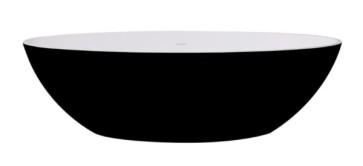 """Best-design """"new-stone"""" bicolor-zwart/wit vrijstaand bad """"just-solid"""" 180x85x52cm"""
