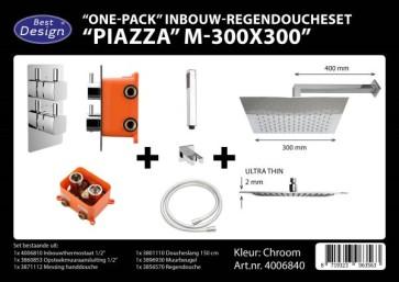 """Best-design """"one pack"""" inbouw-regendoucheset & inb.box """"piazza vierkant m-300x300"""""""