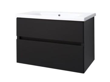 "Best-design ""quick-black-greeploos"" meubel onderkast + wastafel 80 cm mat-zwart"