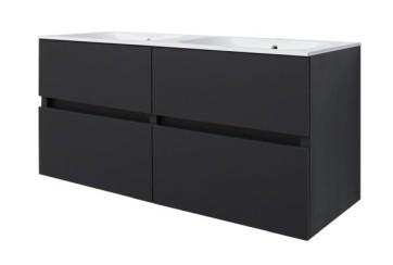 "Best-design ""bora-black-greeploos"" meubel onderkast 4 laden zonder wastafel 120 cm mat-zwart"