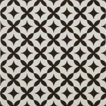 Tegels modena stella bianco e nero 22,5x22,5cm