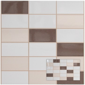 Tegels softline pergamon/wenge mozaiek 25,0x40,0 cm