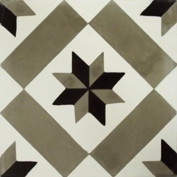 Tegel marrakesch sterdecor grijs-zwart 20x20x1,5