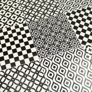 Tegels modena black/white (mix decors) 22,5x22,5