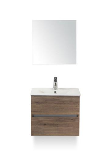 Lorencio badmeubelset 60cm wastafelkast 2 laden greeploos tabacco, keramische wastafel enjoy en spiegel