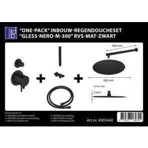 "Best-design ""one-pack"" inbouw-regendoucheset ""gless-nero m-300"" rvs mat-zwart"