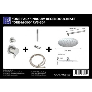 "Best-design ""one-pack"" inbouw-regendoucheset ""ore-m-300"" rvs-304"