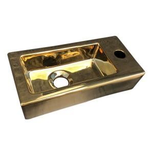 """Best-design fontein """"farnetta"""" kr/g rechts 37x18x9cm glans-goud"""