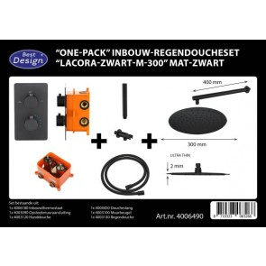 "Best-design ""one-pack"" inbouw-regendoucheset ""lacora-nero m-300"" mat-zwart"