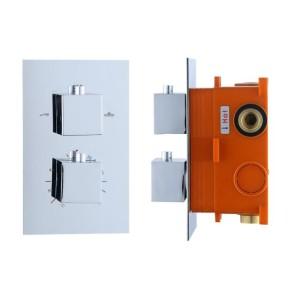 """Best-design """"piazza"""" inbouwthermostaat & inb.box 2 weg 1/2"""" vierkante knoppen"""