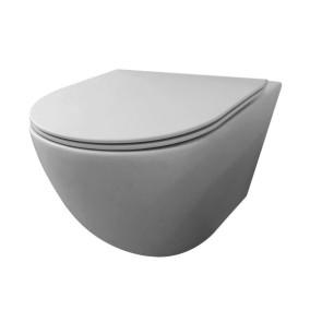 "Best-design ""morrano-49-rimfree"" wandcloset blinde bevestiging incl.zitting mat-grijs"
