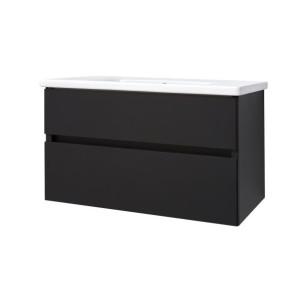 "Best-design ""quick-black-greeploos"" meubel onderkast + wastafel 100 cm mat-zwart"