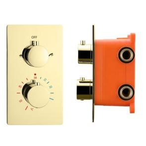 """Best-design """"nancy"""" inbouwthermostaat & inb.box 2-weg 1/2"""" mat-goud"""