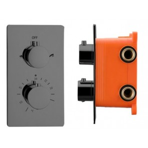 """Best-design """"moya"""" inbouwthermostaat & inb.box 2-weg 1/2"""" gunmetal"""