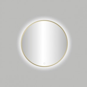 "Best-design nancy ""venetië-thin"" ronde spiegel mat-goud incl.led verlichting diameter  60 cm"