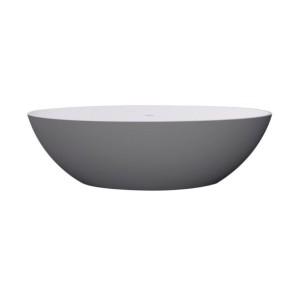"Best-design ""new-stone"" bicolor-lava (grijs)/wit vrijstaand bad ""just-solid"" 180x85x52cm"