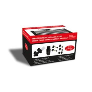 """Best-design nero-luxe radiator-aansluitset """"midden onder haaks"""" universeel mat-zwart (ds-rood)"""