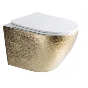"Best-design ""royal-gold-49-rimfree"" wandcloset blinde bevestiging incl.zitting glans-wit /goud"