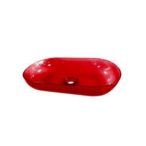 """Best-design opbouw-waskom color """"transpa-red"""" 54x34x12cm"""