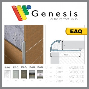 Tegelstrip eaq100.01 aluminium rond wit 10mm