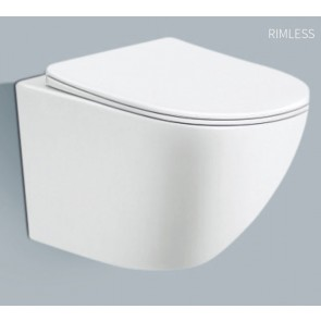 Wandtoilet elite glans wit rimless inclusief wc bril