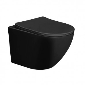 Wandtoilet elite mat zwart rimless inclusief wc bril