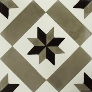 Tegels kashba sterdecor grijs-zwart 20x20x1,5
