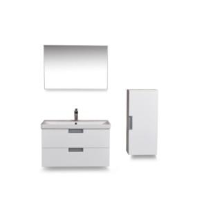 badmeubel 80 +keramische wastafel + spiegel + zijkast wit