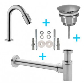 Set Victoria toiletkraan + afvoer/bev. geborsteld staal