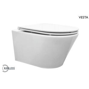 Vesta rimless wandcloset met flatline 2.0 zitting wit