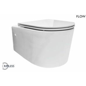 Flow rimless wandcloset met flatline zitting wit