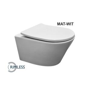 Vesta rimless wandcloset mat-wit + Shade zitting mat-wit