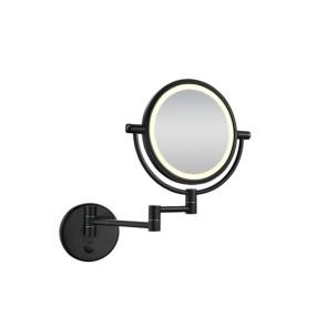 wand scheerspiegel met led verlichting mat-zwart