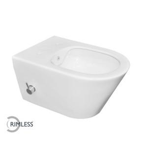 Luxe rimless wandcloset 53 cm met ingebouwde bidetkraan KD wit