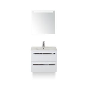 Amador badmeubelset 60cm wastafelkast 2 laden wit hoogglans, keramische wastafel enjoy en spiegel met één horizontale verlichtingsbalk (led)