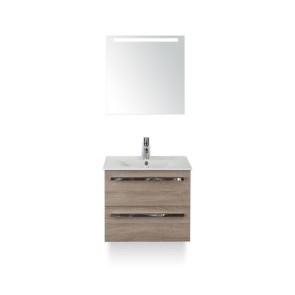 Amador badmeubelset 60cm wastafelkast 2 laden grijs eiken, keramische wastafel enjoy en spiegel met één horizontale verlichtingsbalk (led)