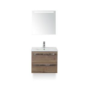 Amador badmeubelset 60cm wastafelkast 2 laden tabacco, keramische wastafel enjoy en spiegel met één horizontale verlichtingsbalk (led)